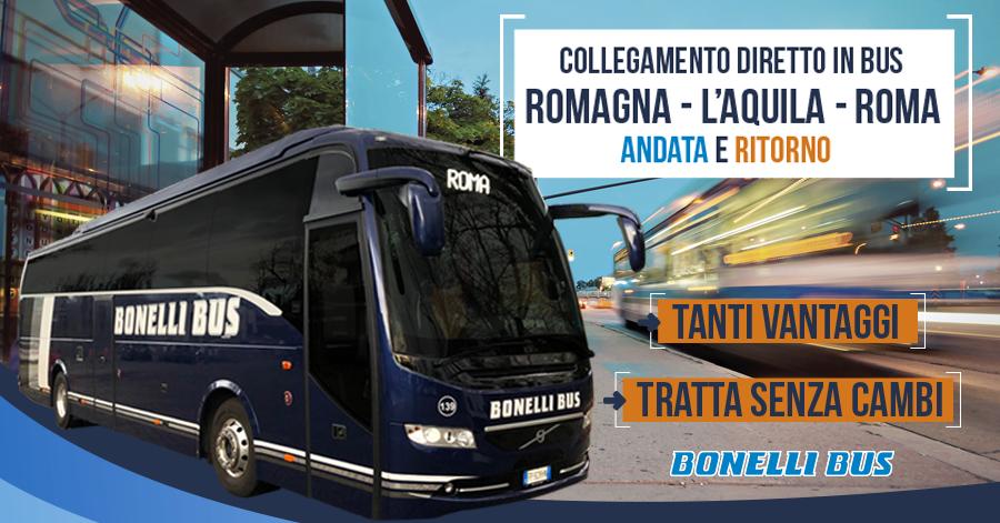 Bus diretto Romagna L'Aquila Roma